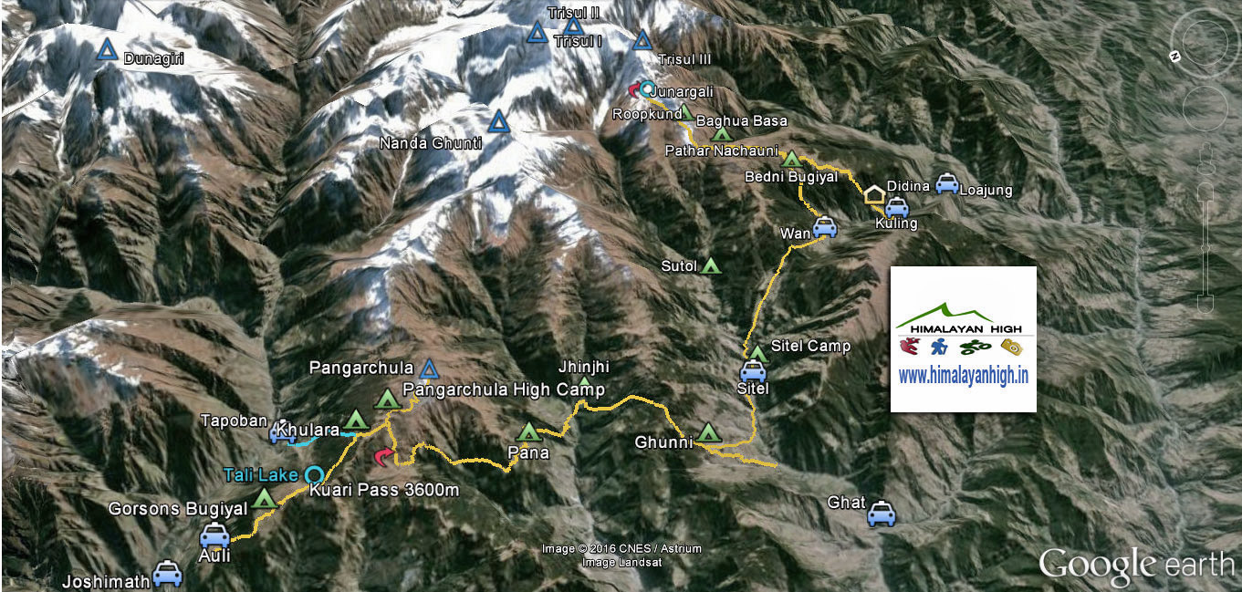 roopkund kuari pass Trek Route Map